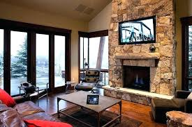 decoration stone fireplace with above mounting flat screen over best image com corner tv stand