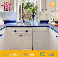 artificial engineered quartz countertop blue colors with competitive suppliers china customized ation love home tile