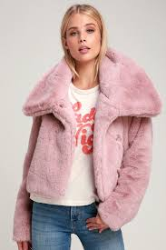 rosalind mauve pink cropped faux fur jacket