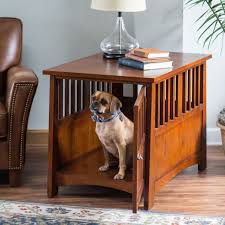 Dog Crate End Table Medium Wooden Puppy Pet Bedside Night Stand Mission  Style