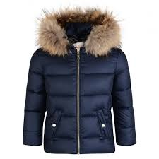 lili gaufrette girls navy coat with rac fur hood and silver embroidered bow
