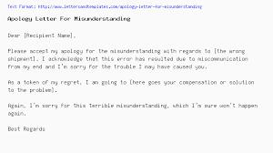 Apology Letter For Misunderstanding