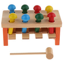 details about magideal wooden hammer pounding pegs bench kids baby toddler gift toy