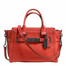 coach deep c pebbled leather coach swagger 27 bag