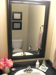 wood framed wall mirrors bathroom height bathroom wall mirror with black wooden frame attached light yellow wood framed wall mirrors