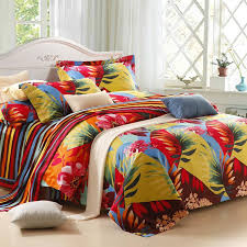 green yellow and red tropical hawaiian themed colorful leaf pattern with stripe print full queen size 100 cotton bedding sets