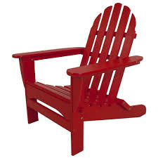 polywood classic sunset red plastic patio adirondack chair