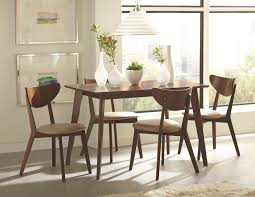 Coaster Kersey 103061 Brown Retro Mid Century Dining Table Set Retro Diner Table Set