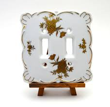 Ceramic Light Covers Vintage Lefton China Double Light Switch Plate White