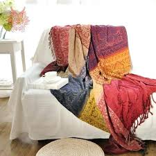 sofa throws covers ikea cover towel multi color yarn dyed chair chenille blanket slip resistant vintage