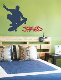 skateboard vinyl wall decal personalized boys sports athletic boys bedroom wall decal skateboard silhouette skateboard wall decals n055