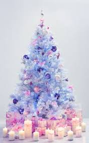 christmas trees decorated with presents. Contemporary Presents Christmas Tree And Presents Decorated Xmas Candles Gifts On Blue  Background With Decorative Balls For Trees With Presents S