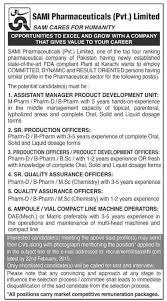 jobs in sami pharma pvt published in dawn newspaper on  sami pharma pvt