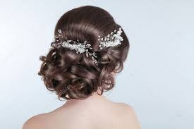 Krása Svatební účes Nevěsta Bruneta Dívka S Kudrnatými Vlasy S