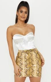 brown snakeskin faux leather mini skirt image 1
