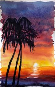 how to watercolor paint a sunset sky without reference images