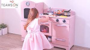 Retro Play Kitchen Set Girls Fun Pink Country Retro Wooden Play Kitchen Toy Fridge Unit