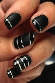 amazing black nails with silver metallic striping tape nail art