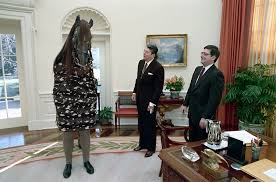 reagan oval office. C51617-18, A Fake Horse Pays Visit To President Reagan And Chief Of Staff Kenneth Duberstein In The Oval Office. 1/19/89. Office S