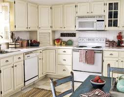Red Country Kitchen Cabinets Cream Wooden Kitchen Cabinet And Red Mozaic Tile Backsplash