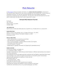 Mla Resume Format It Resume Cover Letter Sample