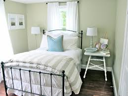 Cool Small Space Bedroom As Inspiring Guest Spare Room Ideas With Iron  Single Bed Frame Also White Bedside Table Feat Table Lamps As Well As White  Curtain ...