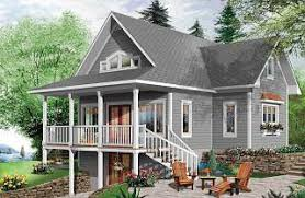 Home Plans and House Designs   Walkout Basement from    Vistas bedrooms lakefront cottage  walkout basement  master suite on first floor