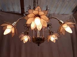 italian chandelier capiz shell lotus flowers 5 armed 50s