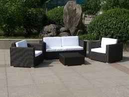 Furniture Outdoor White Wicker Patio Furniture With Brown Ceramic