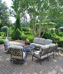 cau by hanamint luxury cast aluminum patio furniture round fire pit table