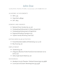 Sample Resumes For College Applications Examples Of Resumes For