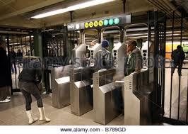 subway station turnstile.  Subway Subway Station Turnstile In New York City City Subway   Stock Photo For Station Turnstile