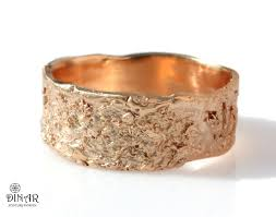 Bark Design Wedding Ring 18k Rustic Wedding Band 14k Rose Gold Wedding Ring By