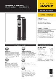 Davey Kinetico Softener Model Number Mach 2060s Od