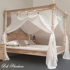 Four Poster Bed Four Poster Bed Hand Carved Teak Classic In Whitewash Bali Abundance