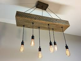Reclaimed Wood Half Beam Light Fixture with Reclaimed Wood Top Box and  Edison Bulbs
