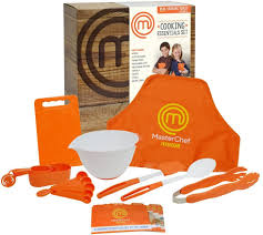 Amazon.com: MasterChef Junior Cooking Essentials Set - 9 Pc. Kit Includes  Real Cookware for Kids, Recipes and Apron: Toys & Games