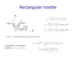 strain gage rosettes 39 rectangular rosette 3 equations 3 unknowns relating