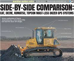 Side By Side Comparing Cat Deere Komatsu And Topcon Mast