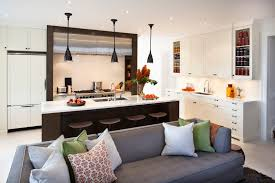 Ultra Modern Kitchen Design Features Dark Wood Framed Range Area, Matching  Wood Island With Full