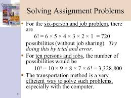 transportation and assignment problems ppt solving assignment problems