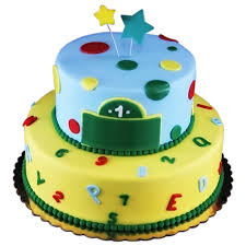 Simple Tiered First Birthday Cake For A Baby Boy