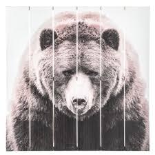 bear wood panel wall decor