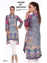 Pakistani Silk Kurtis Designs Saher Vol 2 By Sibayash Pakistani Stylish Designer Printed