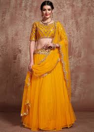Lehenga Design In Yellow Colour Yellow Mirror Embellished Lehenga Choli