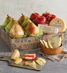clic pears apples and cheese gift