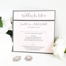 Charcoal Blush Pink Wedding Invitations With Satin Ribbon Detail