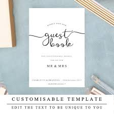 Guest Book Template Beauteous DIY Printable Wedding Sign Wedding Guestbook Sign Guest Book Etsy