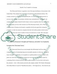competitive advantage the strengths and weaknesses of the the strengths and weaknesses of the cheesecake factory essay example