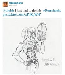 100% true watchmen 2′ information has been discovered on twitter and not only that but we ve got a comicsalliance exclusive look at rorschach ii from character designer spearhafoc